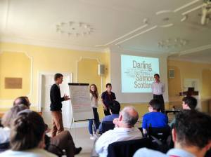 Students debate history and politics, during induction week