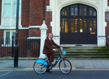 Coleman travelling by 'Boris Bike'