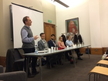 UCL Careers Consultant Mark de Freitas and the panel of alumni speakers