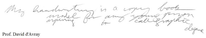 David D writing